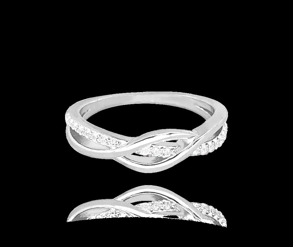 Stříbrný propletený prsten MINET s bílými zirkony vel. 63