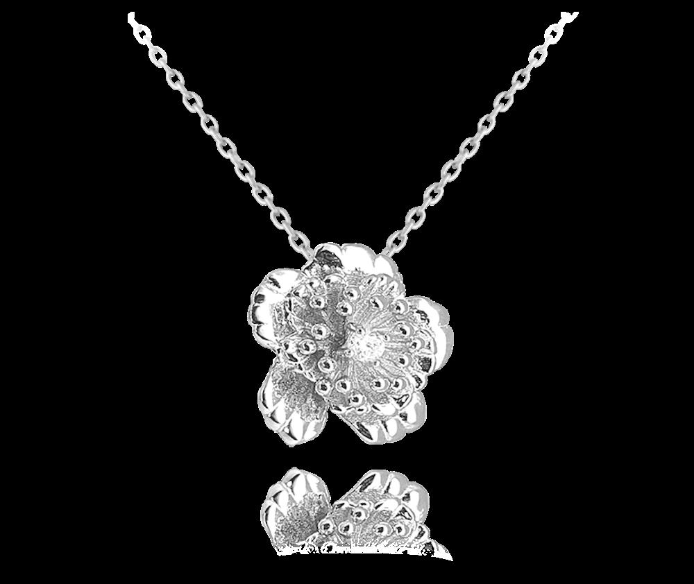 Stříbrný náhrdelník MINET KYTIČKA s zirkonem