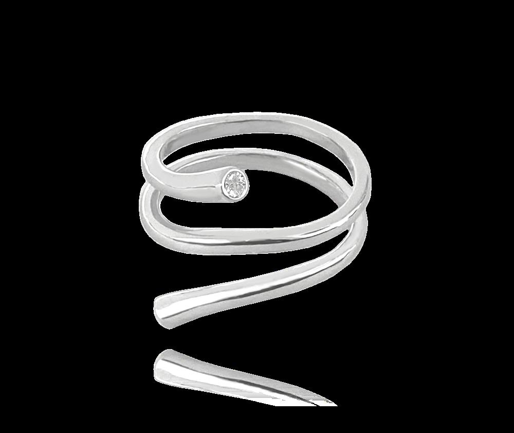Kroucený stříbrný prsten MINET s bílými zirkony vel. 56