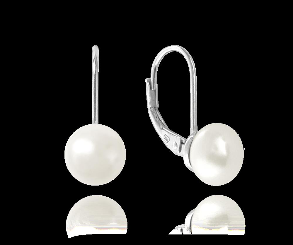 MINET Stříbrné náušnice MINET s bílou perlou JMAS7030SE00