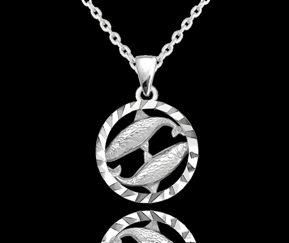 MINET Stříbrný náhrdelník MINET Zodiac znamení RYBY JMAS9403SN45
