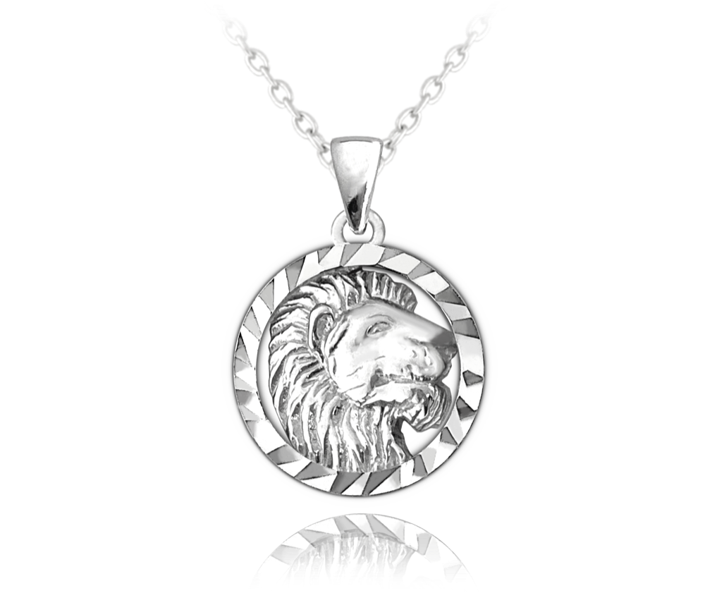 MINET Stříbrný náhrdelník MINET Zodiac znamení LEV JMAS9408SN45