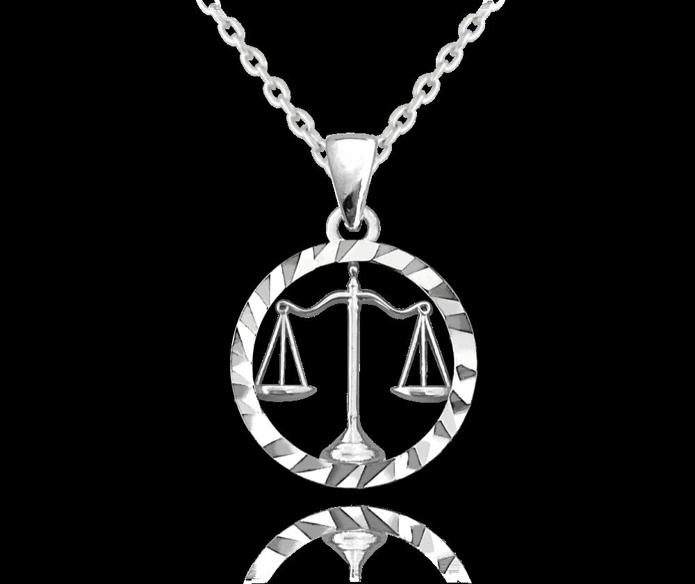 MINET Stříbrný náhrdelník MINET Zodiac znamení VÁHY JMAS9410SN45