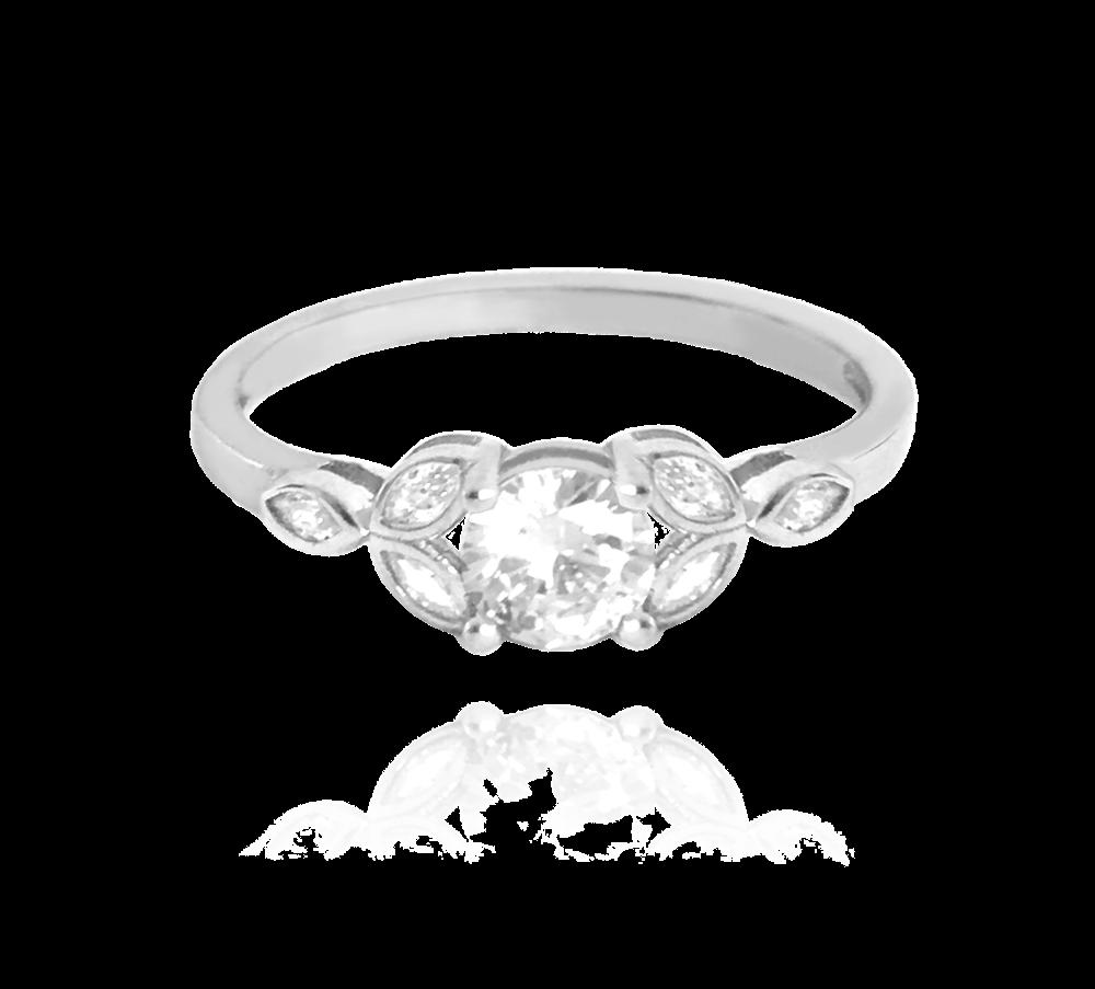 Luxusní rozkvetlý stříbrný prsten MINET FLOWERS s bílými zirkony vel. 54