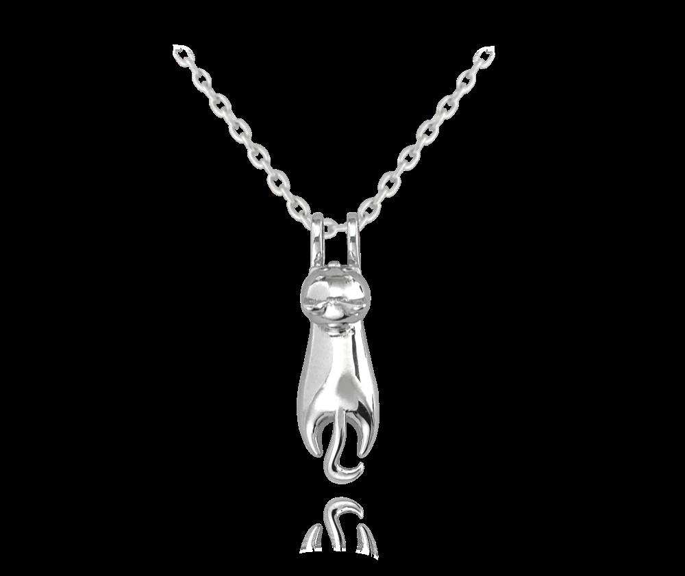 Lesklý stříbrný náhrdelník MINET KOČKA