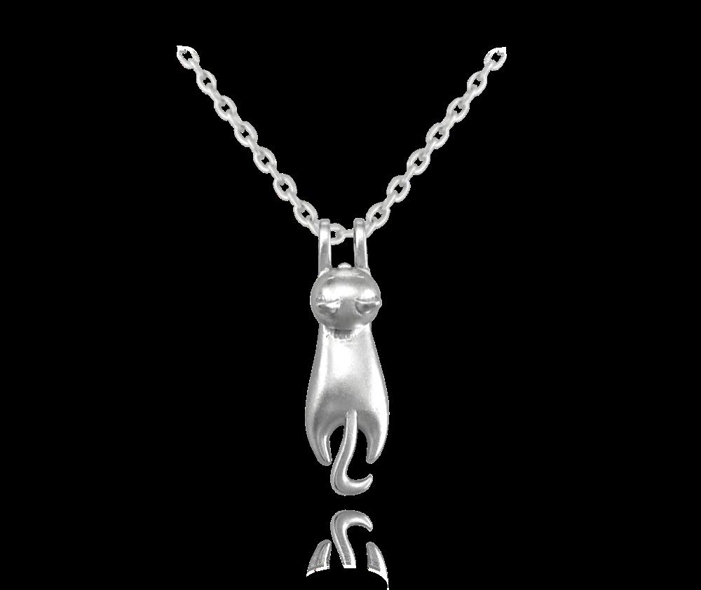 MINET Matný stříbrný náhrdelník MINET KOČKA JMAN0223ZN45