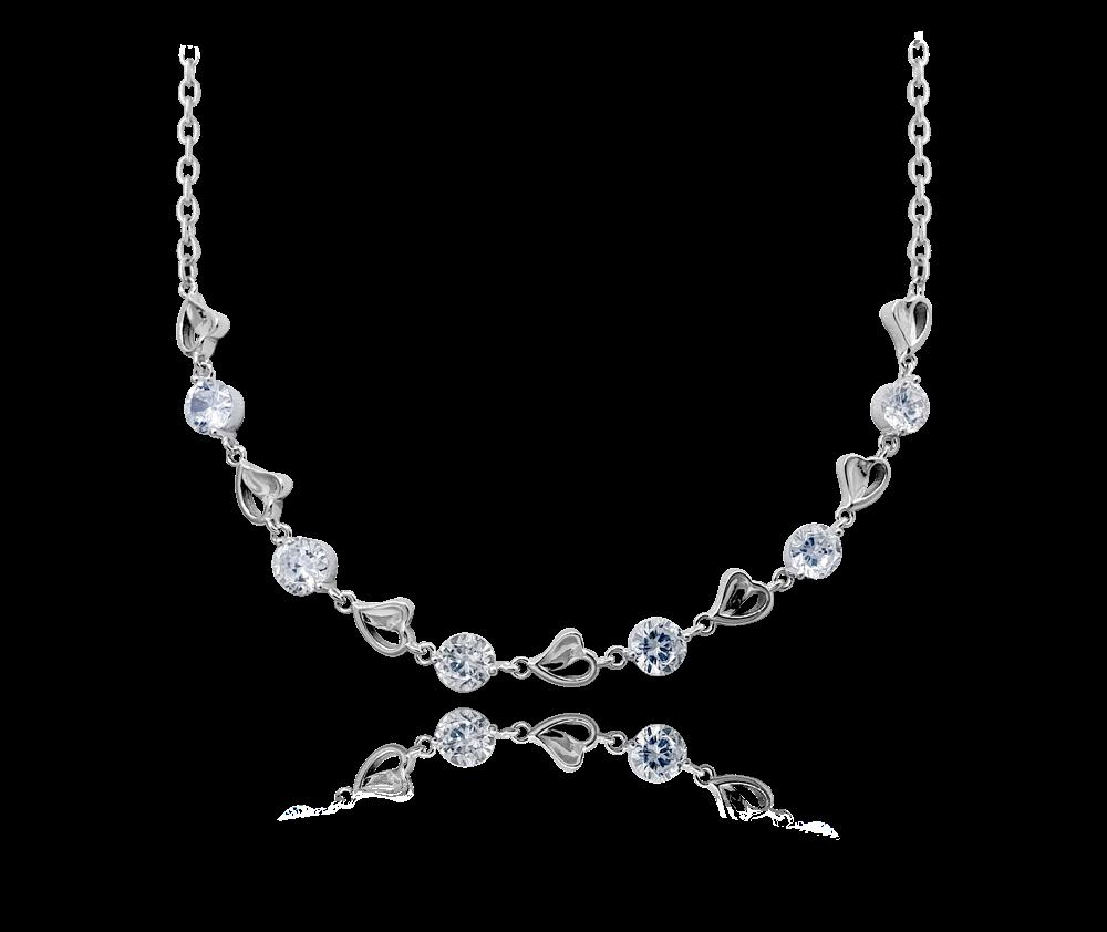 Stříbrný náhrdelník MINET se srdíčky a zirkony