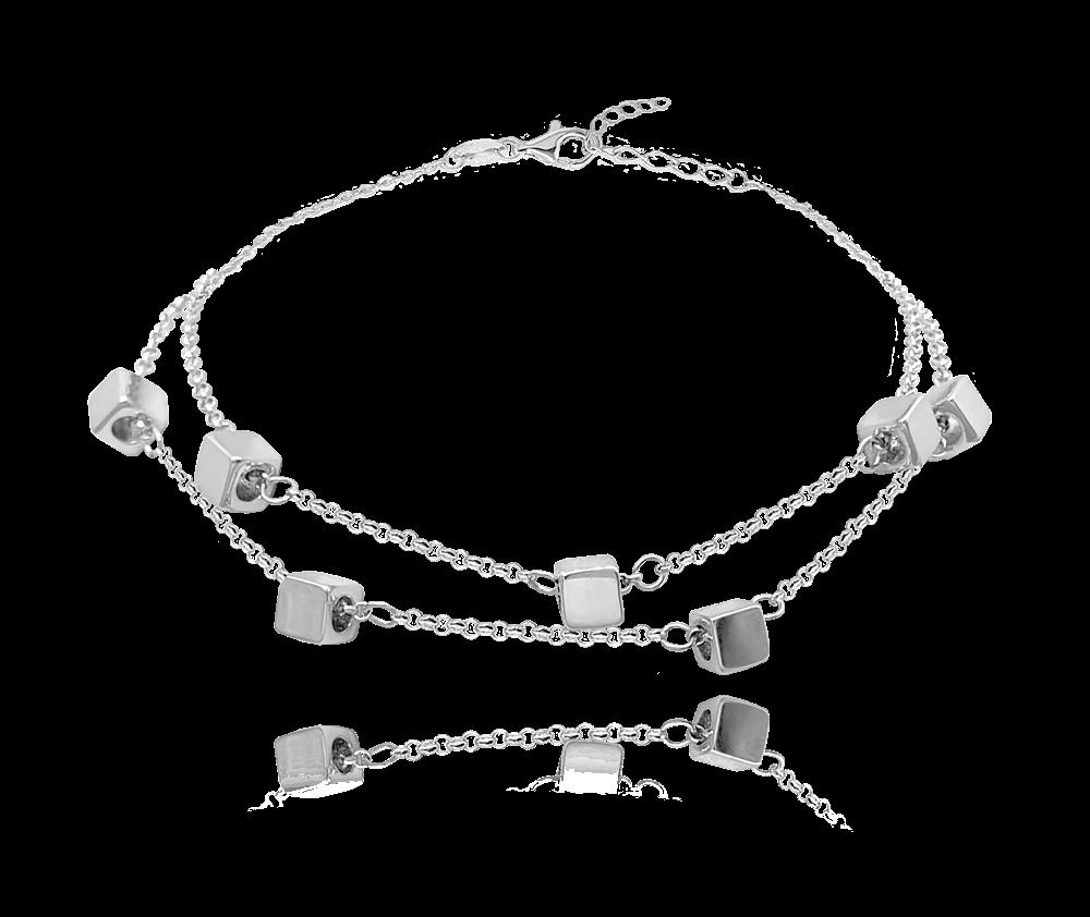 Dvojitý stříbrný náramek MINET s drobnými kostkami