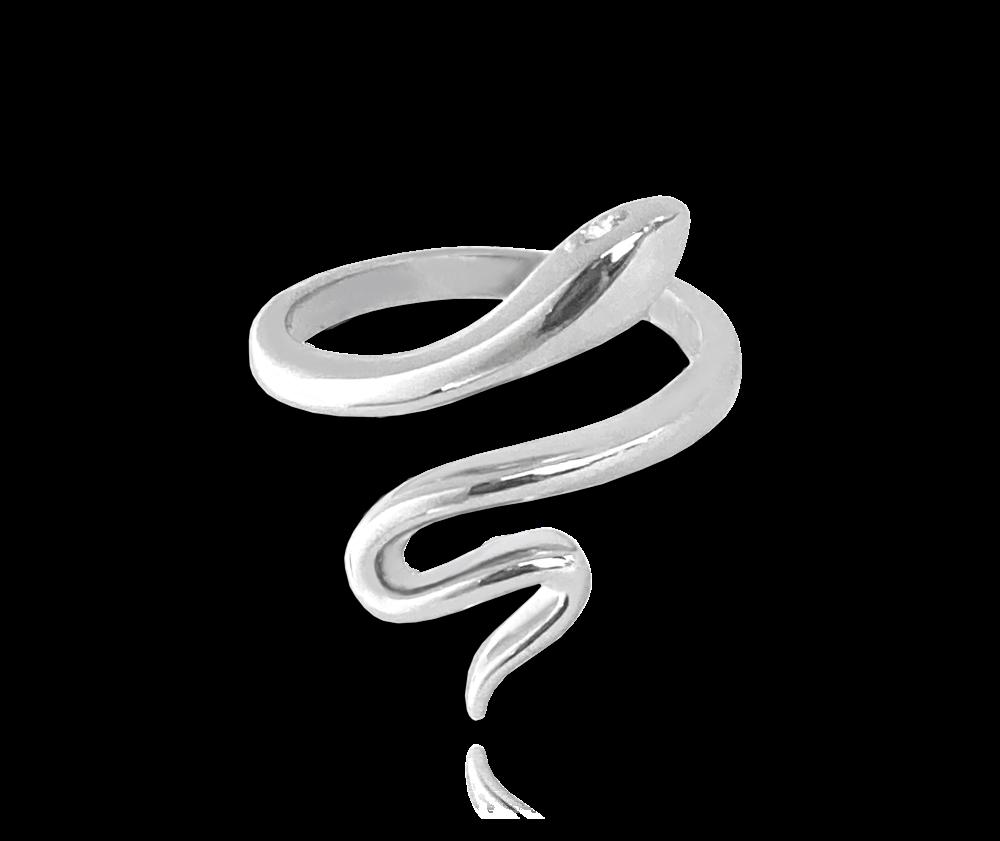 Stříbrný prsten MINET SNAKE s bílými zirkony vel. 54