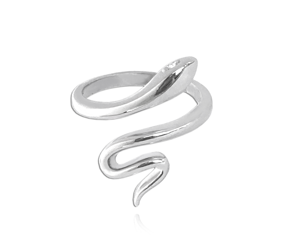Stříbrný prsten MINET SNAKE s bílými zirkony vel. 56