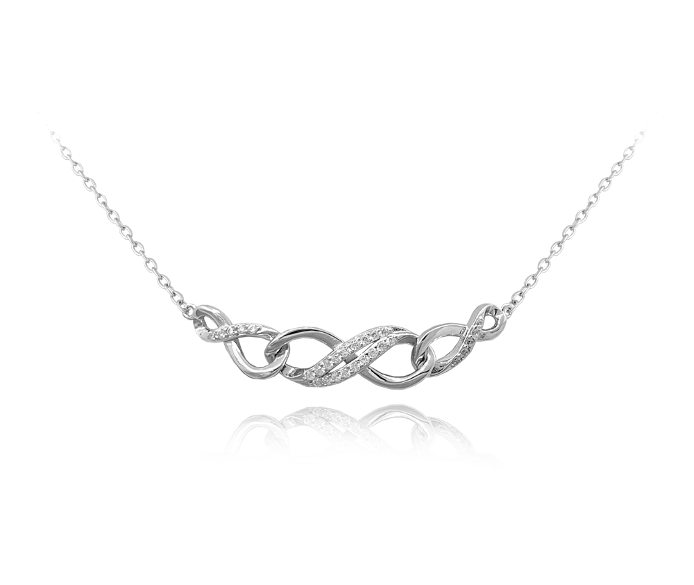 Spletený stříbrný náhrdelník MINET se zirkony