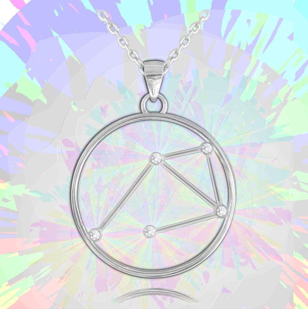 Stříbrný náhrdelník MINET Stars VÁHY Czech Crystal