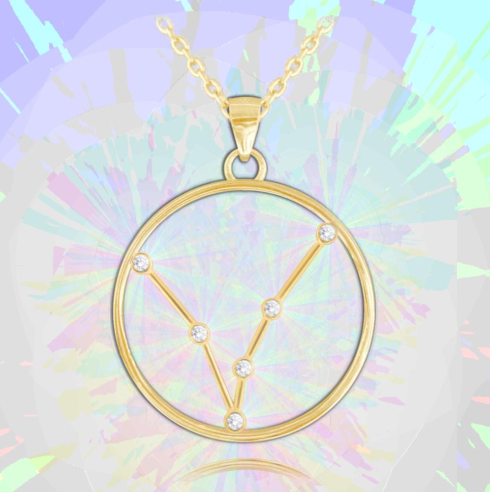 MINET Pozlacený náhrdelník MINET Stars znamení RYBY Czech Crystal JMAS9503GN45