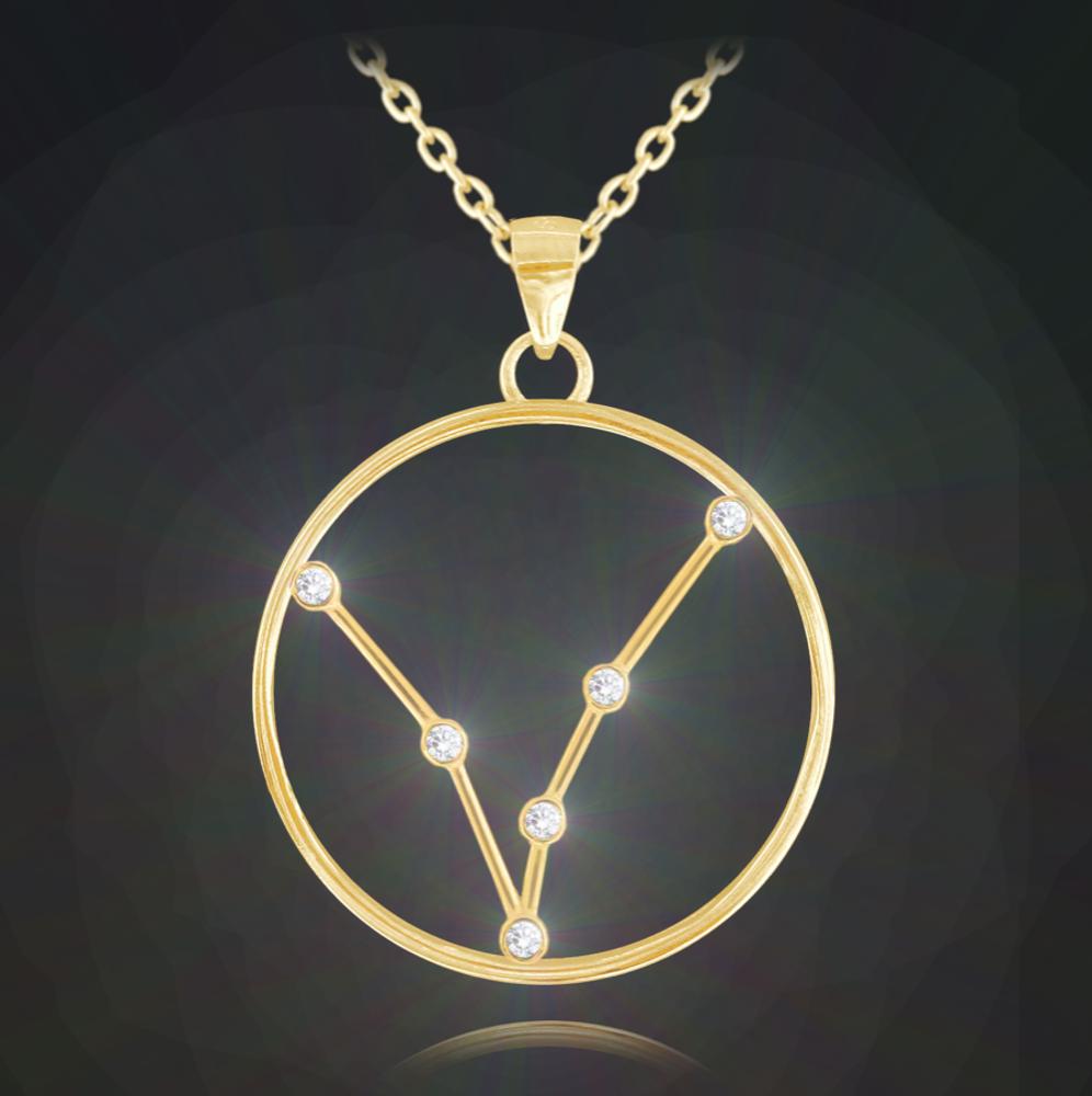 Pozlacený náhrdelník MINET Stars znamení RYBY Czech Crystal