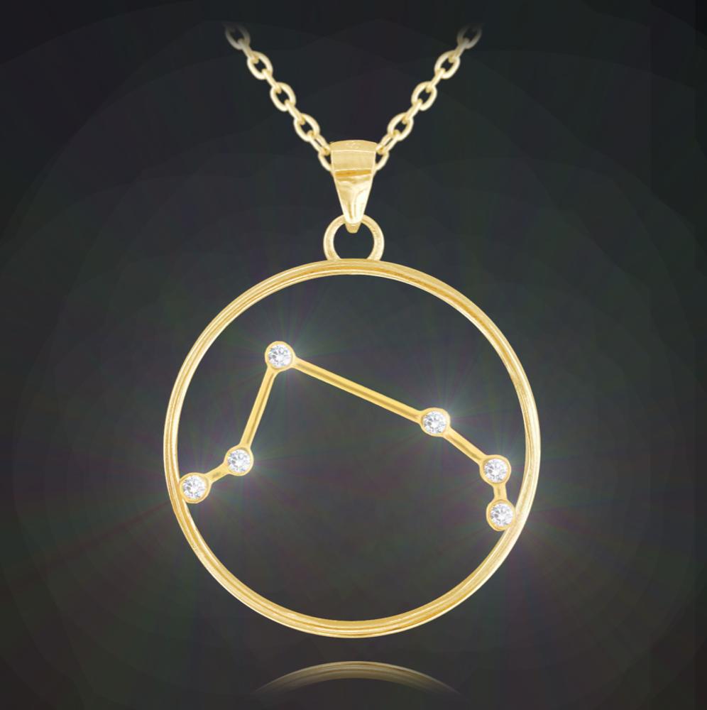 Pozlacený náhrdelník MINET Stars znamení BERAN Czech Crystal