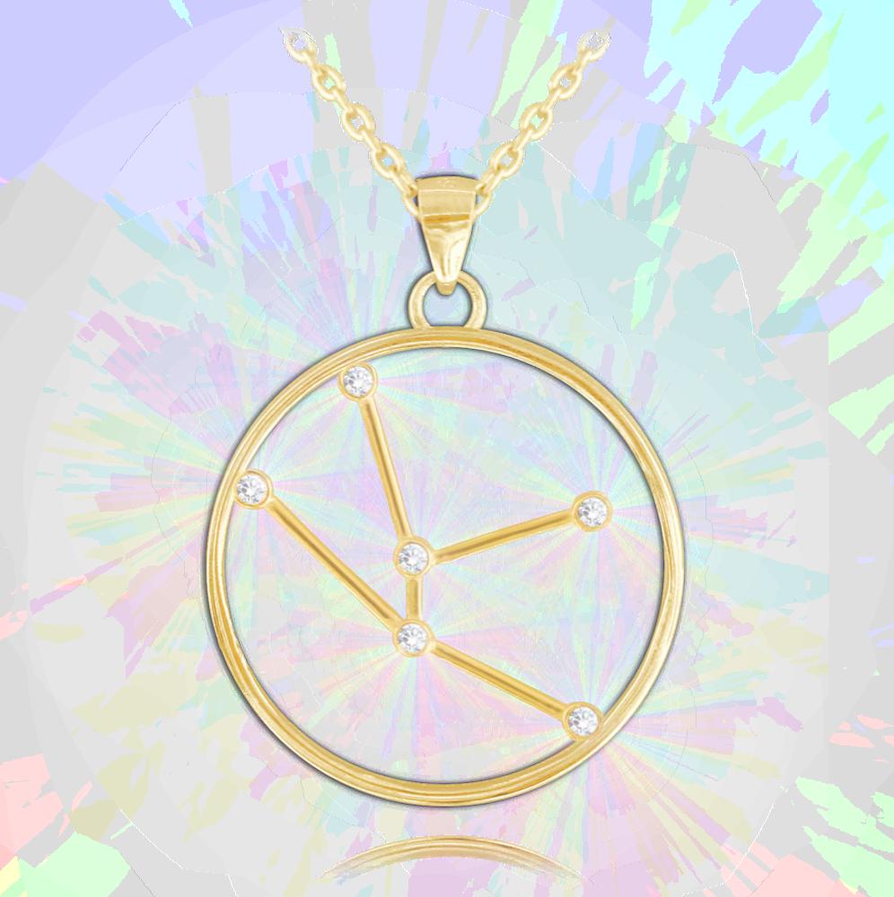 Pozlacený náhrdelník MINET Stars znamení BÝK Czech Crystal