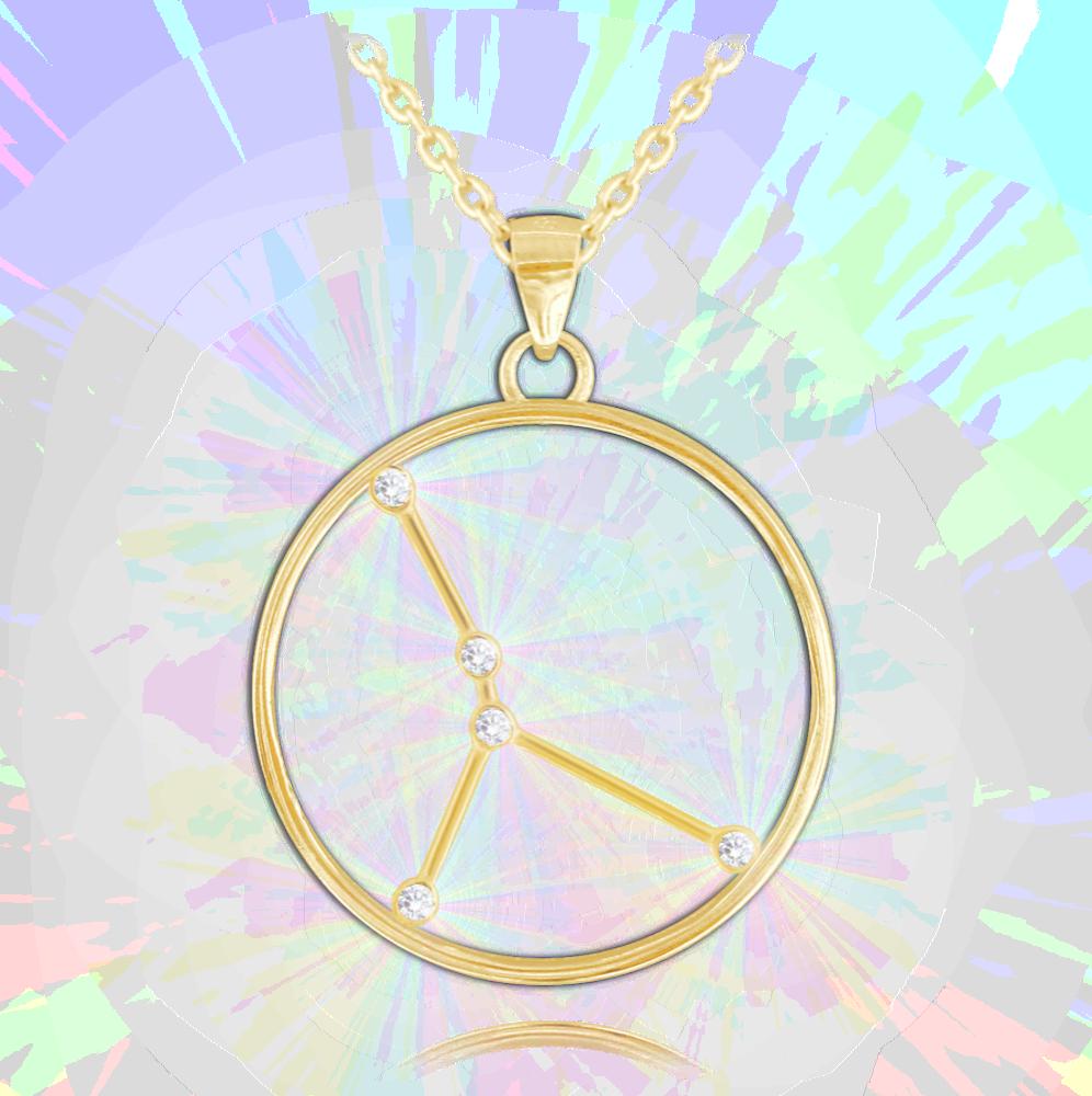 Pozlacený náhrdelník MINET Stars znamení RAK Czech Crystal