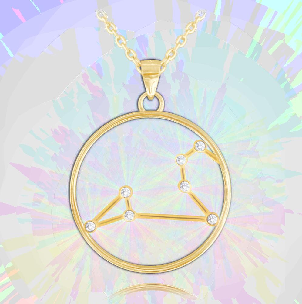 Pozlacený náhrdelník MINET Stars znamení LEV Czech Crystal