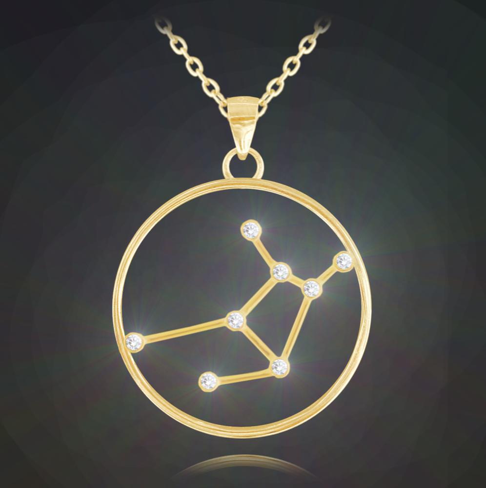 Pozlacený náhrdelník MINET Stars znamení PANNA Czech Crystal