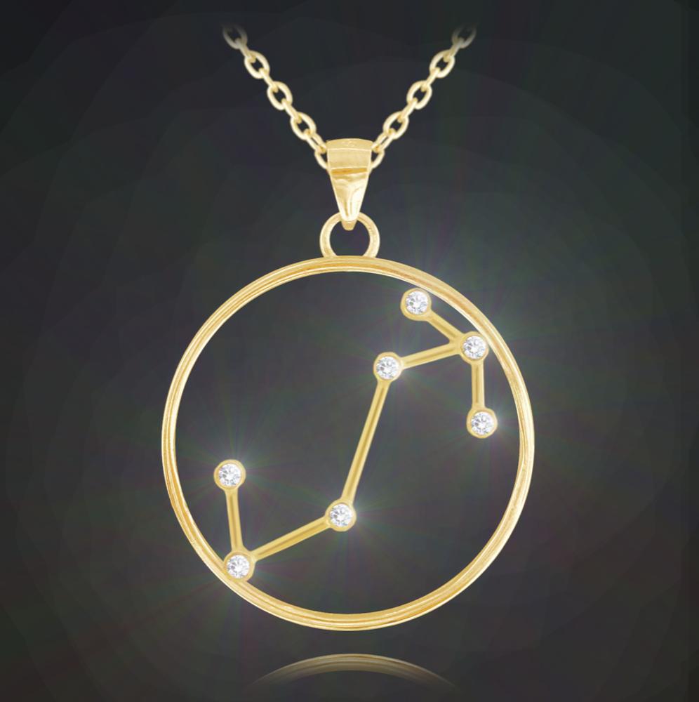 Pozlacený náhrdelník MINET Stars znamení ŠTÍR Czech Crystal
