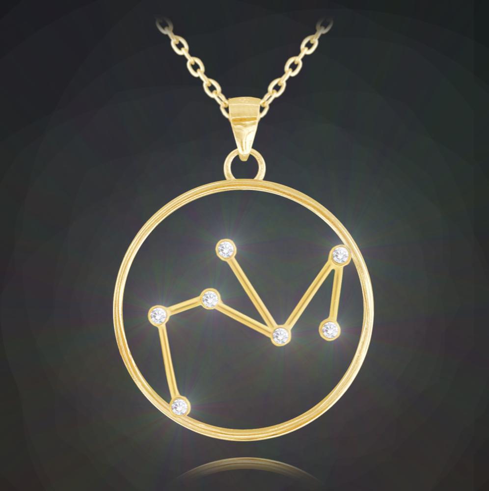 Pozlacený náhrdelník MINET Stars znamení STŘELEC Czech Crystal
