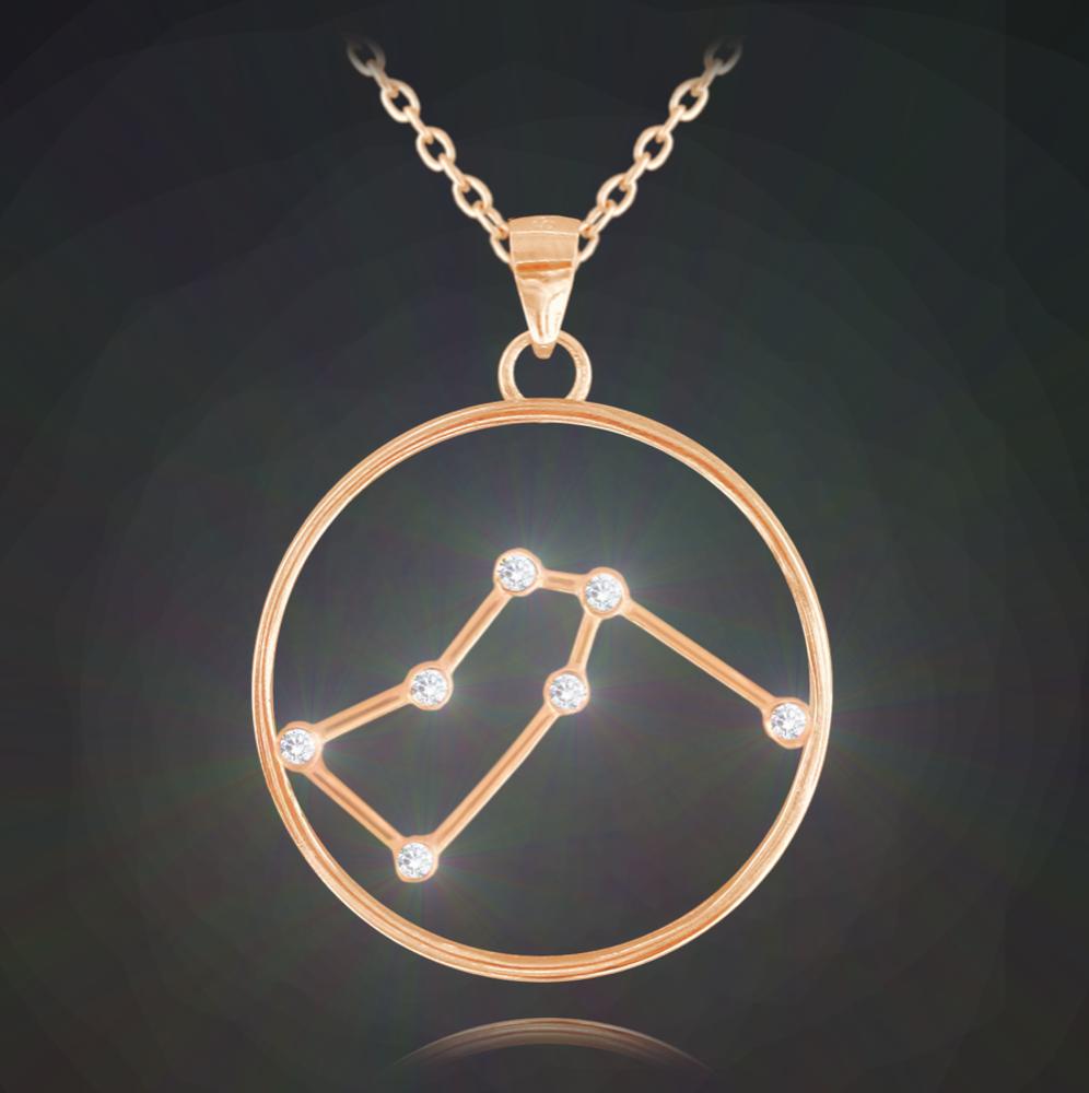 Rose gold stříbrný náhrdelník MINET Stars znamení VODNÁŘ Czech Crystal