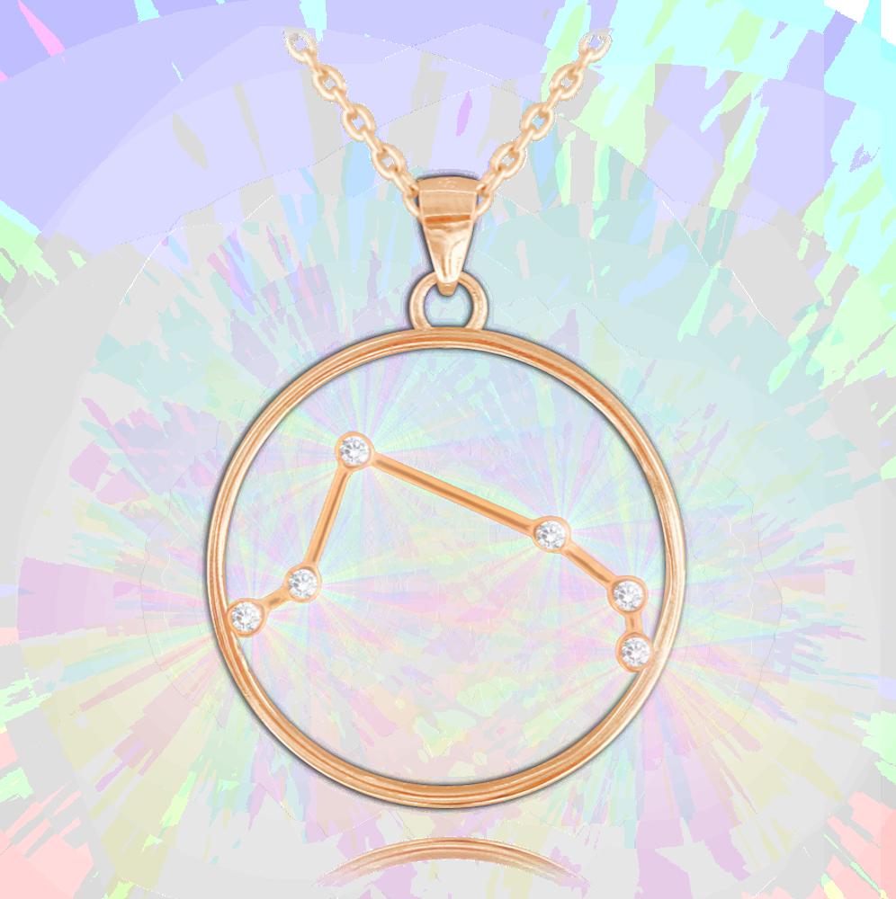 Rose gold náhrdelník MINET Stars znamení BERAN Czech Crystal