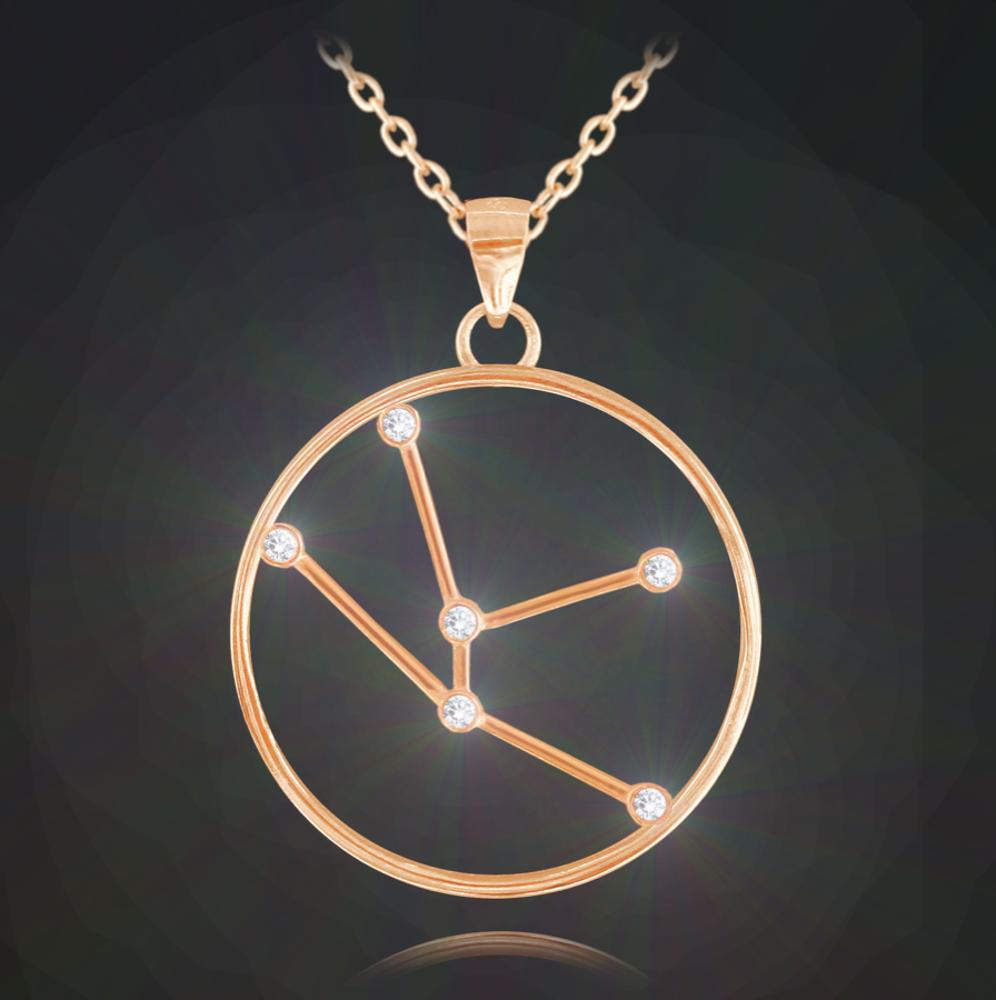 Rose gold náhrdelník MINET Stars znamení BÝK Czech Crystal