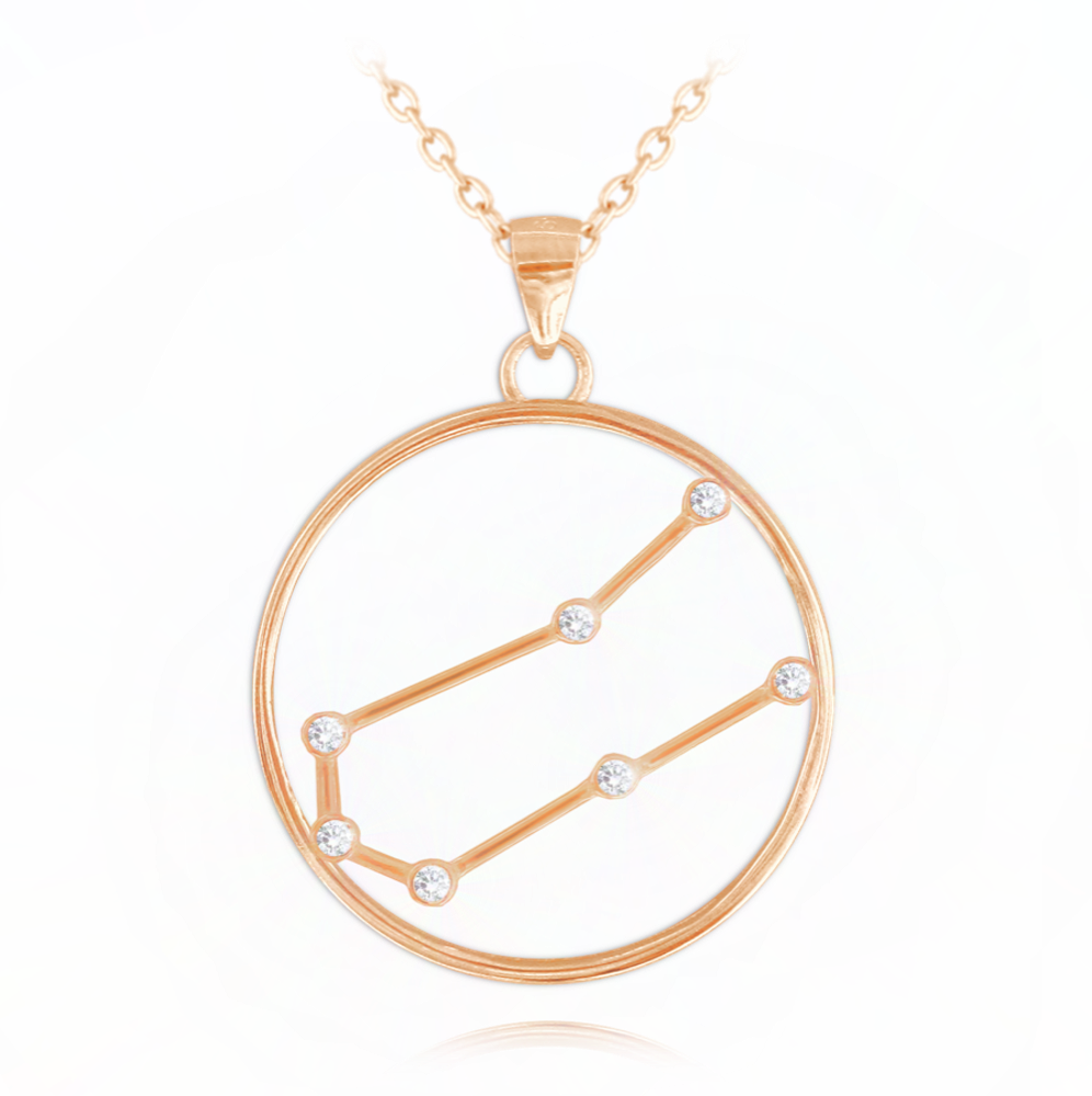 MINET Rose gold náhrdelník MINET Stars znamení BLÍŽENCI Czech Crystal JMAS9506RN45