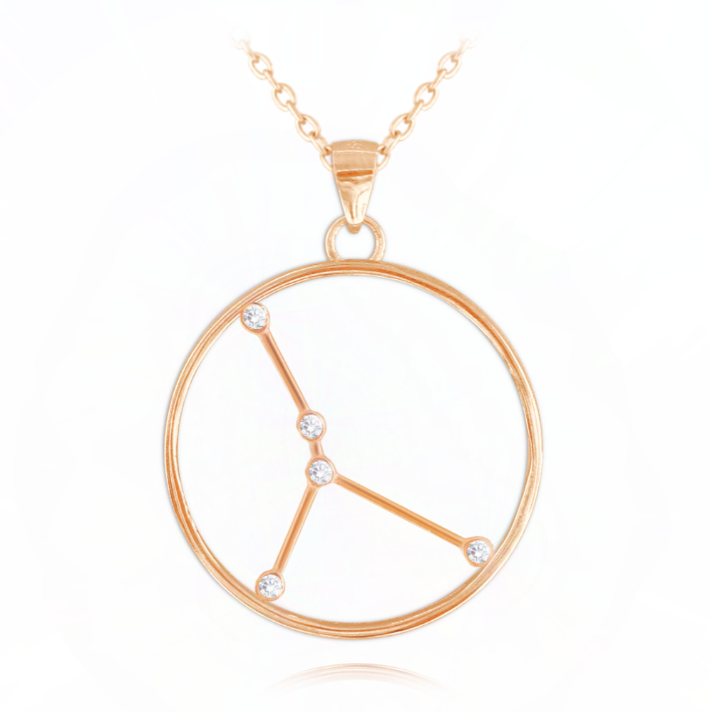 MINET Rose gold náhrdelník MINET Stars znamení RAK Czech Crystal JMAS9507RN45