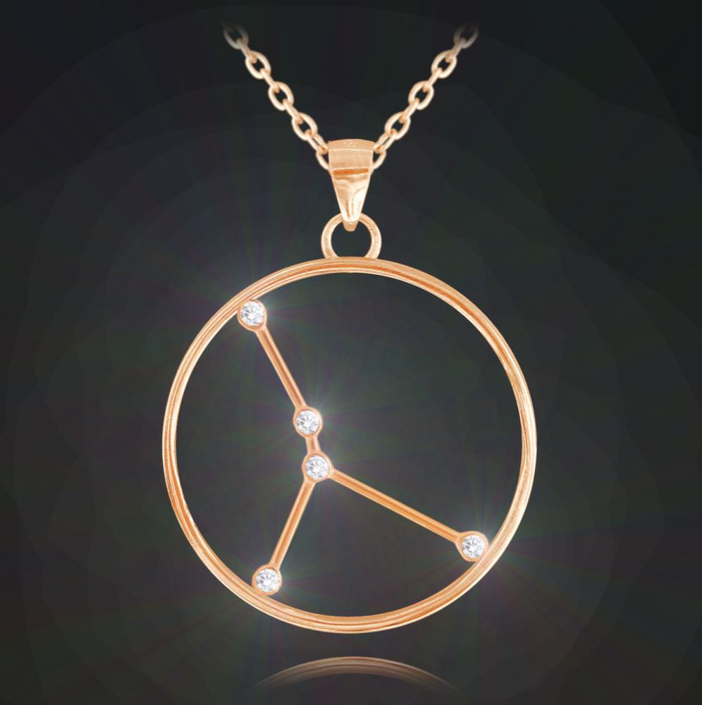 Rose gold náhrdelník MINET Stars znamení RAK Czech Crystal
