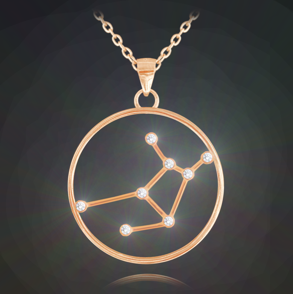 Rose gold náhrdelník MINET Stars znamení PANNA Czech Crystal