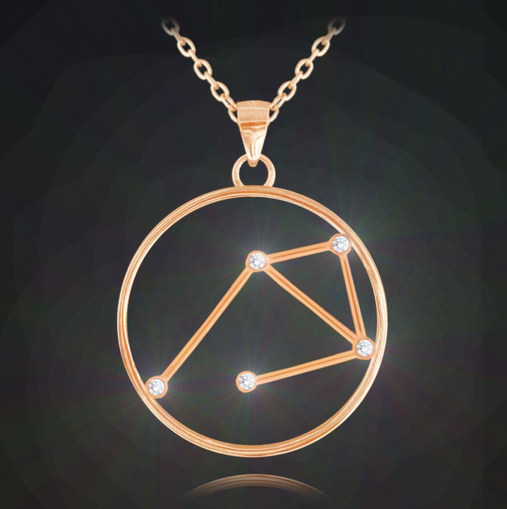 Rose gold náhrdelník MINET Stars znamení VÁHY Czech Crystal