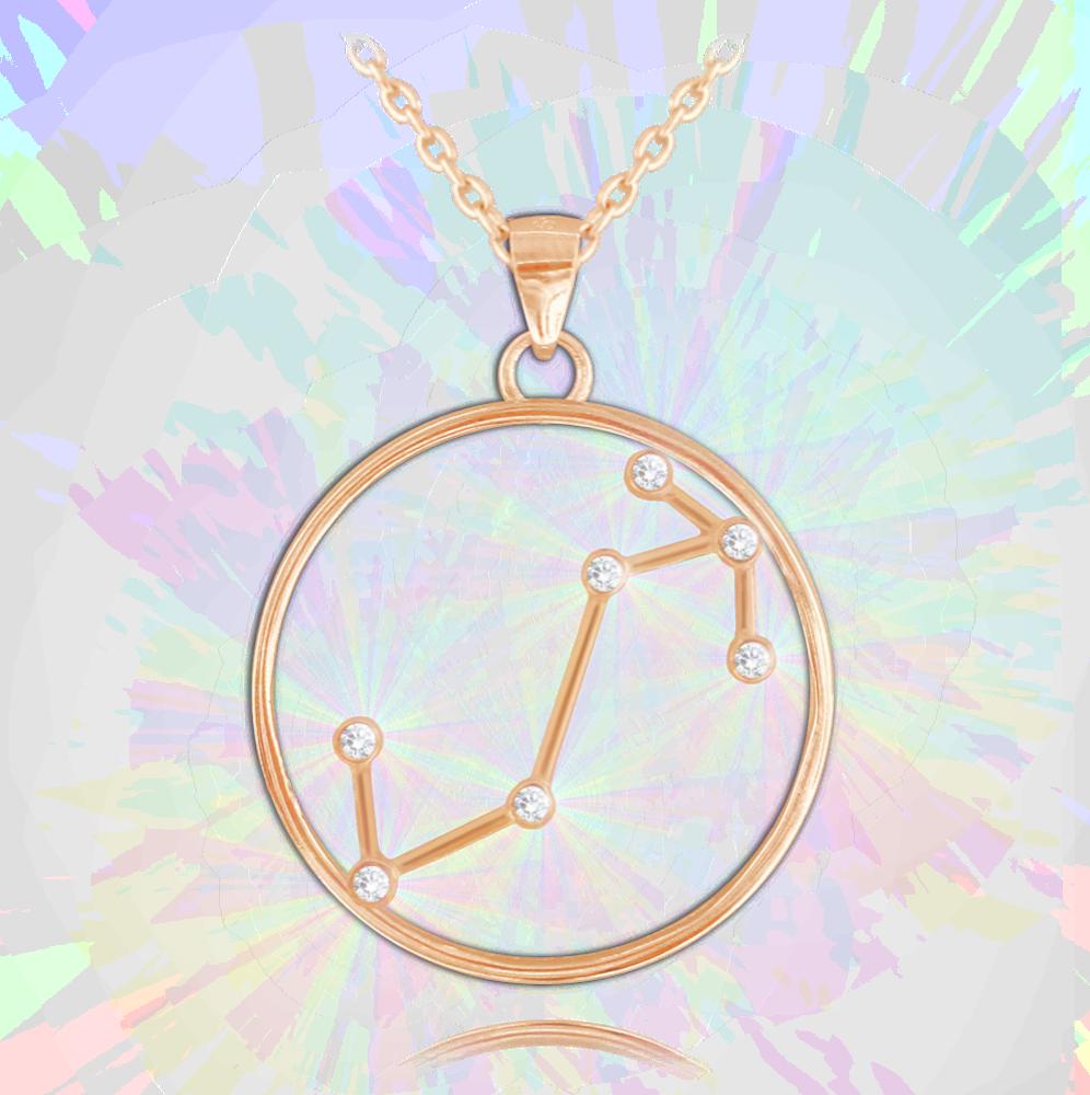 Rose gold náhrdelník MINET Stars znamení ŠTÍR Czech Crystal
