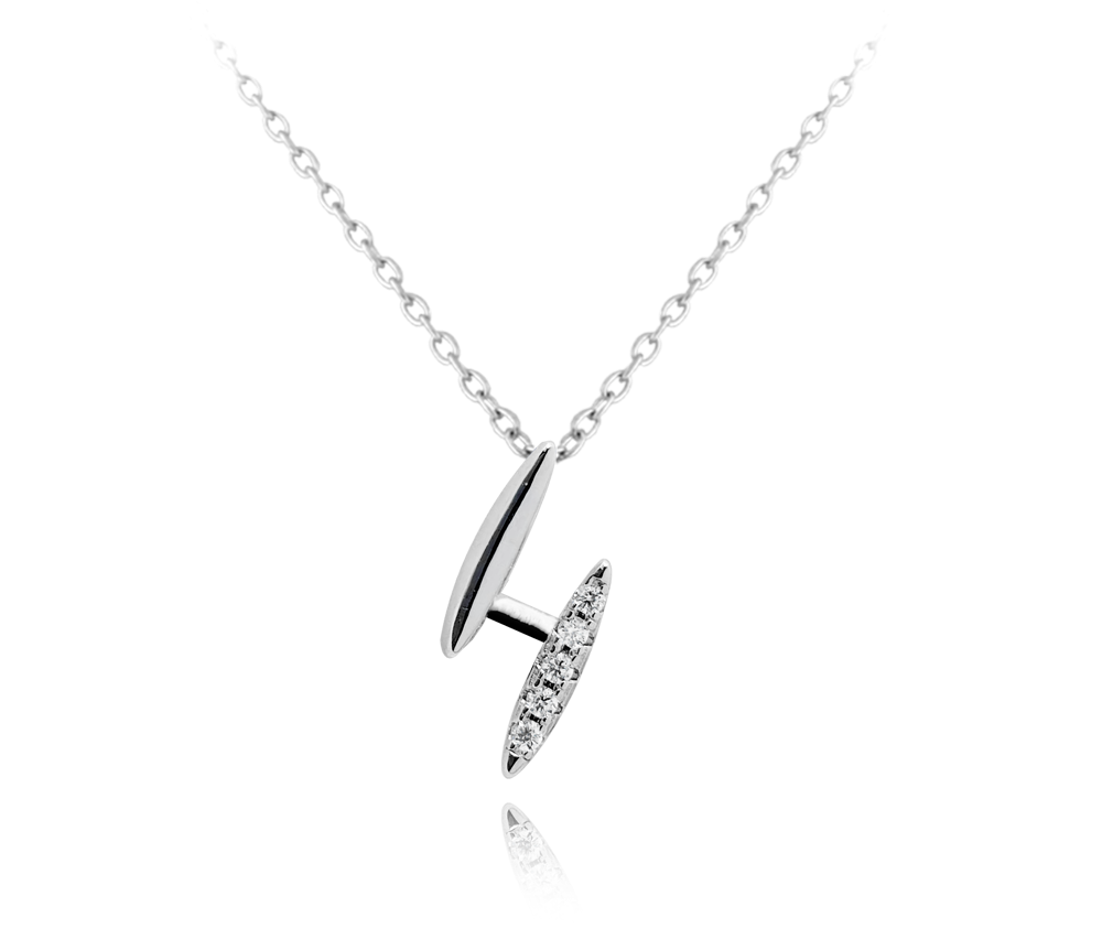 MINET Elegantní stříbrný náhrdelník MINET s bílými zirkony JMAS0094SN45