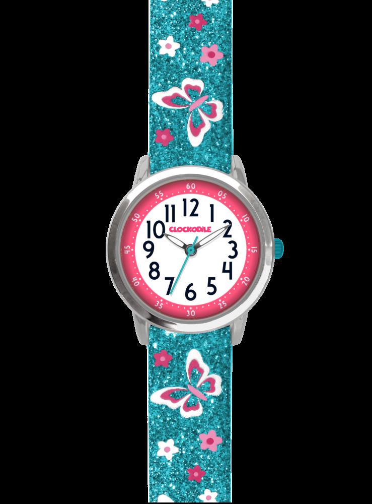 Motýlí tyrkysové dívčí dětské hodinky CLOCKODILE BUTTERFLIES se třpytkami