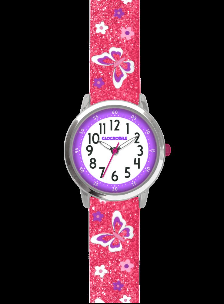 Motýlí růžové dívčí hodinky CLOCKODILE BUTTERFLIES se třpytkami