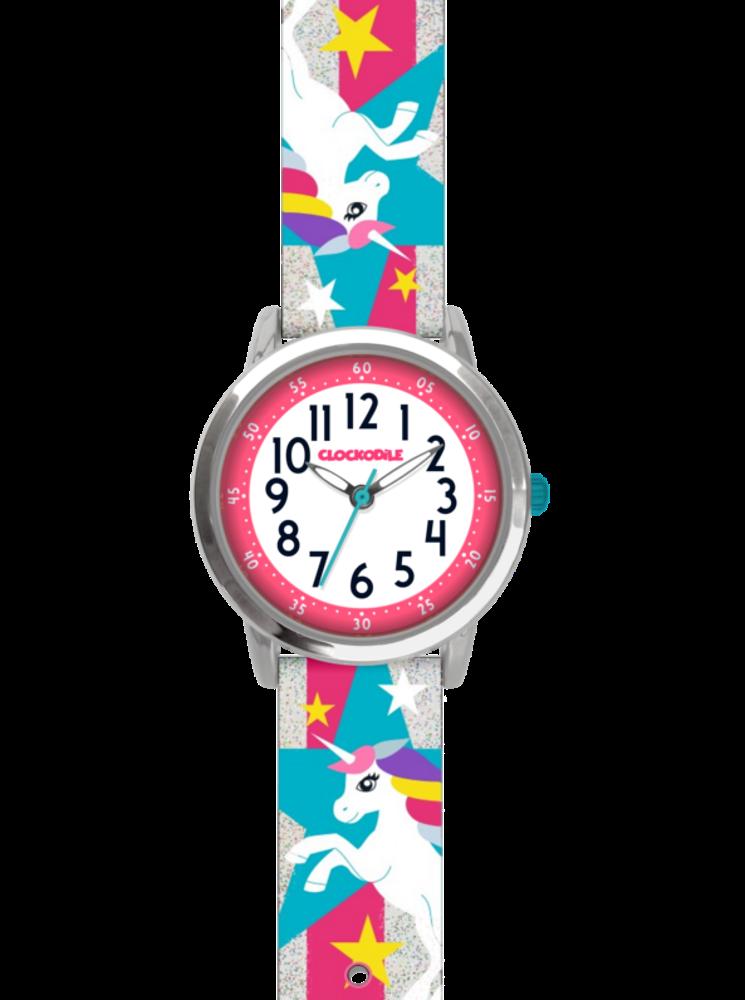 Stříbrné třpytivé dívčí dětské hodinky s jednorožcem CLOCKODILE UNICORNS