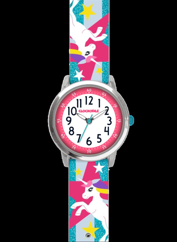 Tyrkysové třpytivé dívčí dětské hodinky s jednorožcem CLOCKODILE UNICORNS