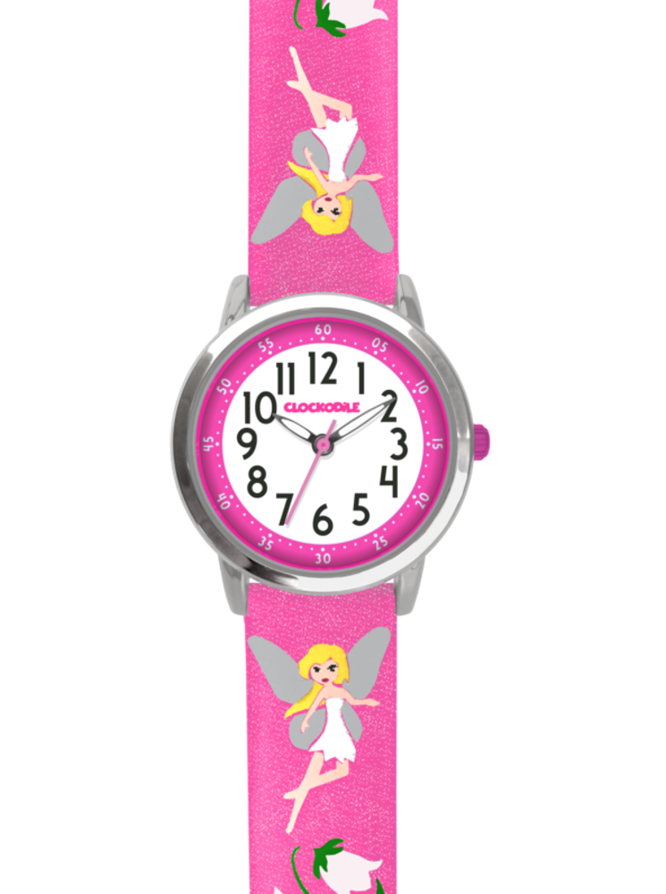 CLOCKODILE Růžové třpytivé dívčí dětské hodinky s vílami CLOCKODILE FAIRIES CWG5081