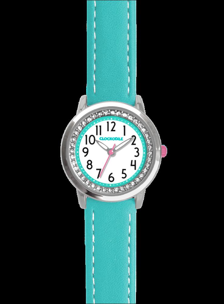 CLOCKODILE Tyrkysové třpytivé dívčí dětské hodinky se kamínky CLOCKODILE SPARKLE CWG5091