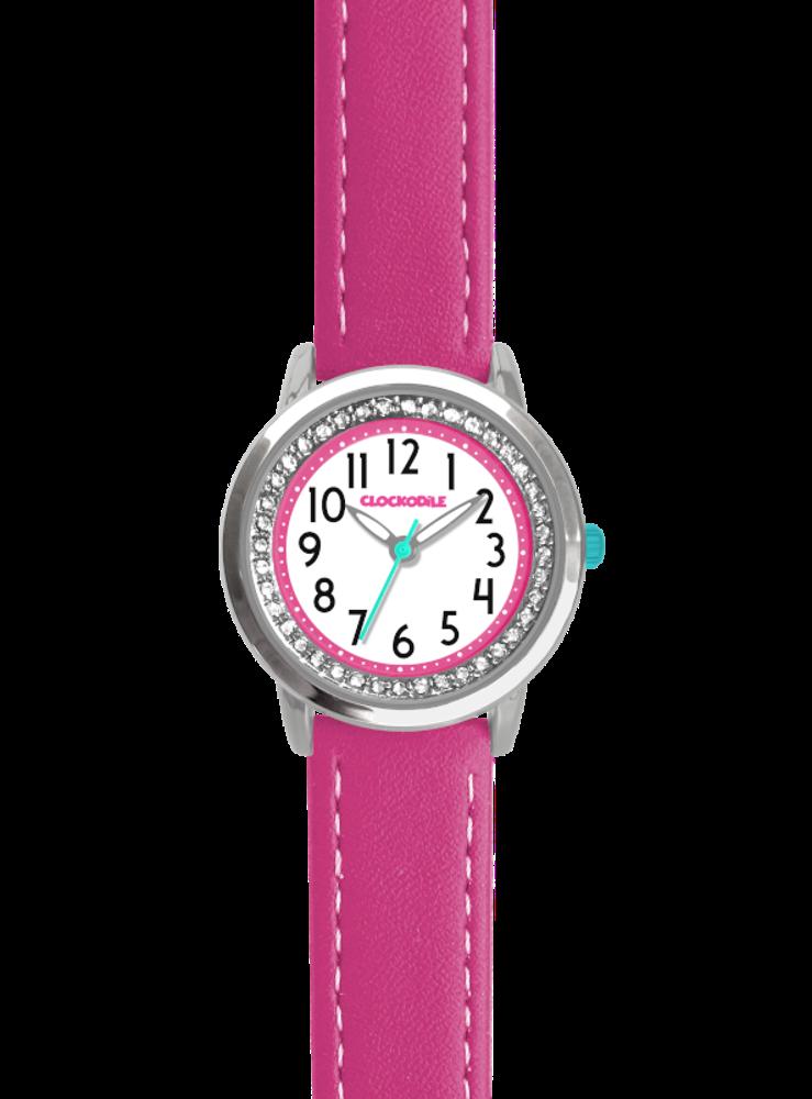 CLOCKODILE Tmavě růžové třpytivé dívčí dětské hodinky se kamínky CLOCKODILE SPARKLE CWG5093