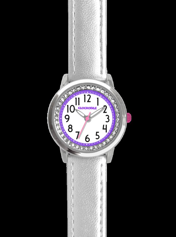 CLOCKODILE Stříbrné třpytivé dívčí dětské hodinky se kamínky CLOCKODILE SPARKLE CWG5094