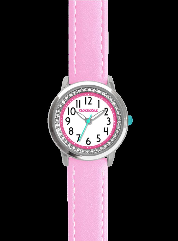 Růžové třpytivé dívčí hodinky se kamínky CLOCKODILE SPARKLE
