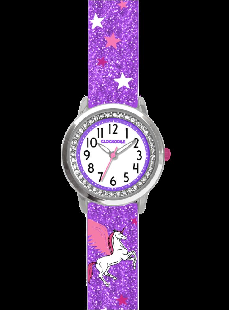 CLOCKODILE Fialové třpytivé dívčí dětské hodinky s jednorožcem a kamínky CLOCKODILE UNICORN CWG5102