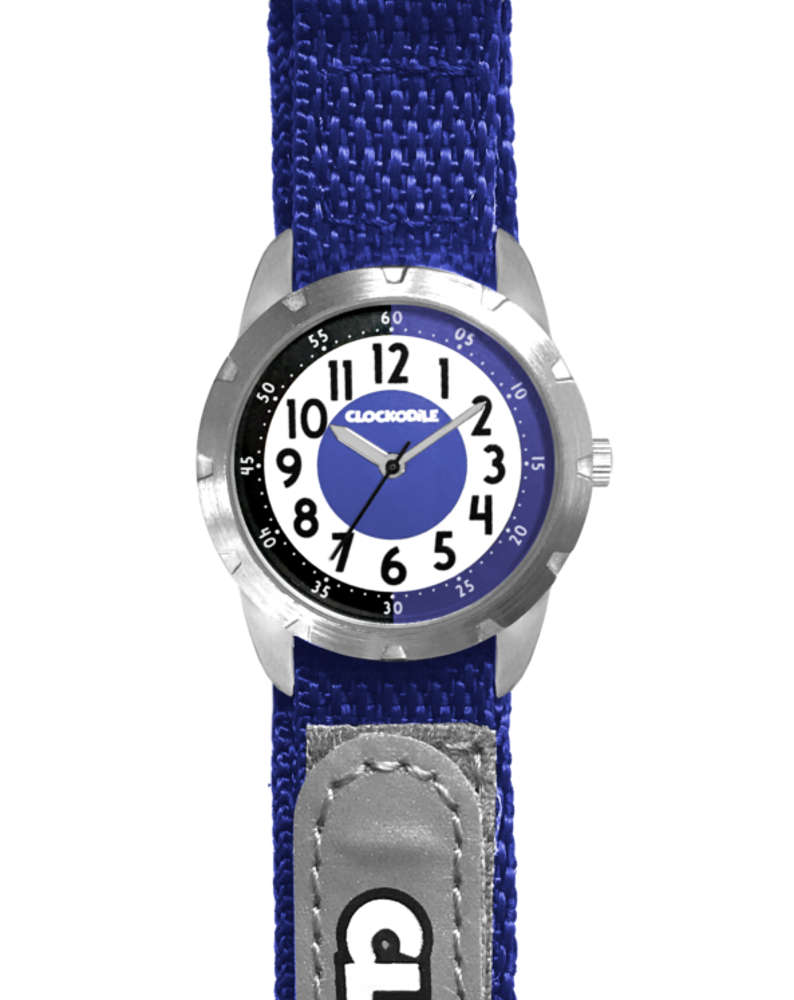 Modré reflexní dětské hodinky na suchý zip CLOCKODILE REFLEX