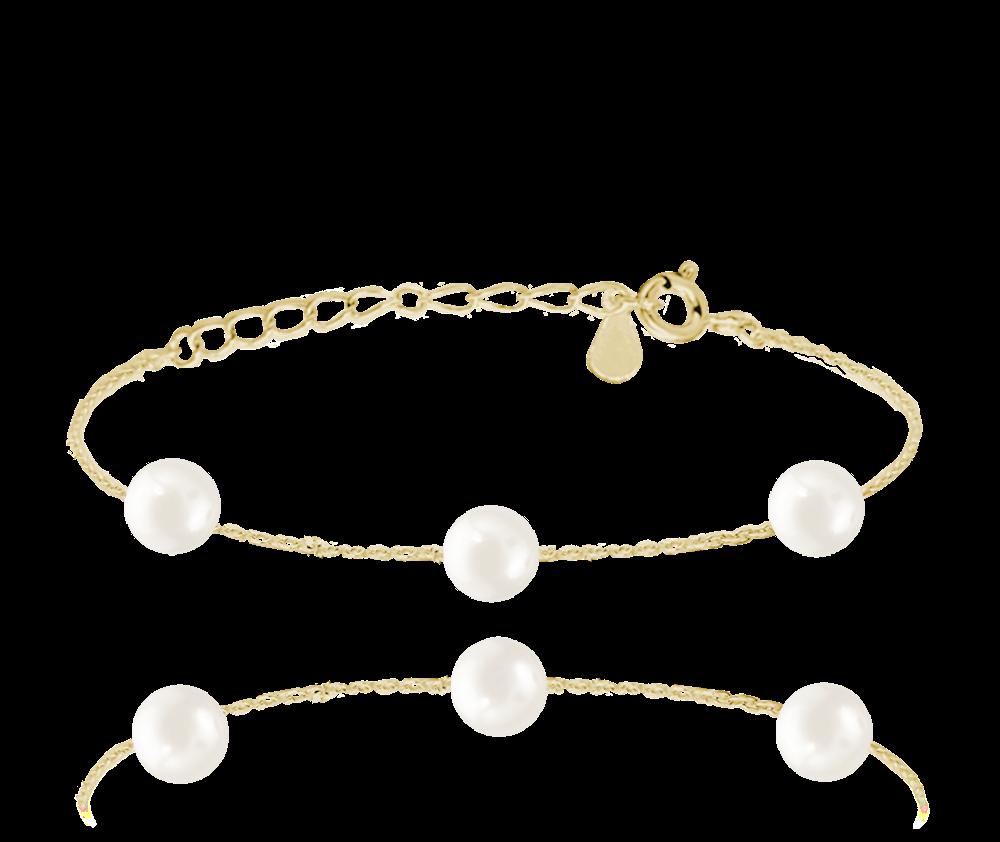 Pozlacený stříbrný náramek MINET s přírodními perlami