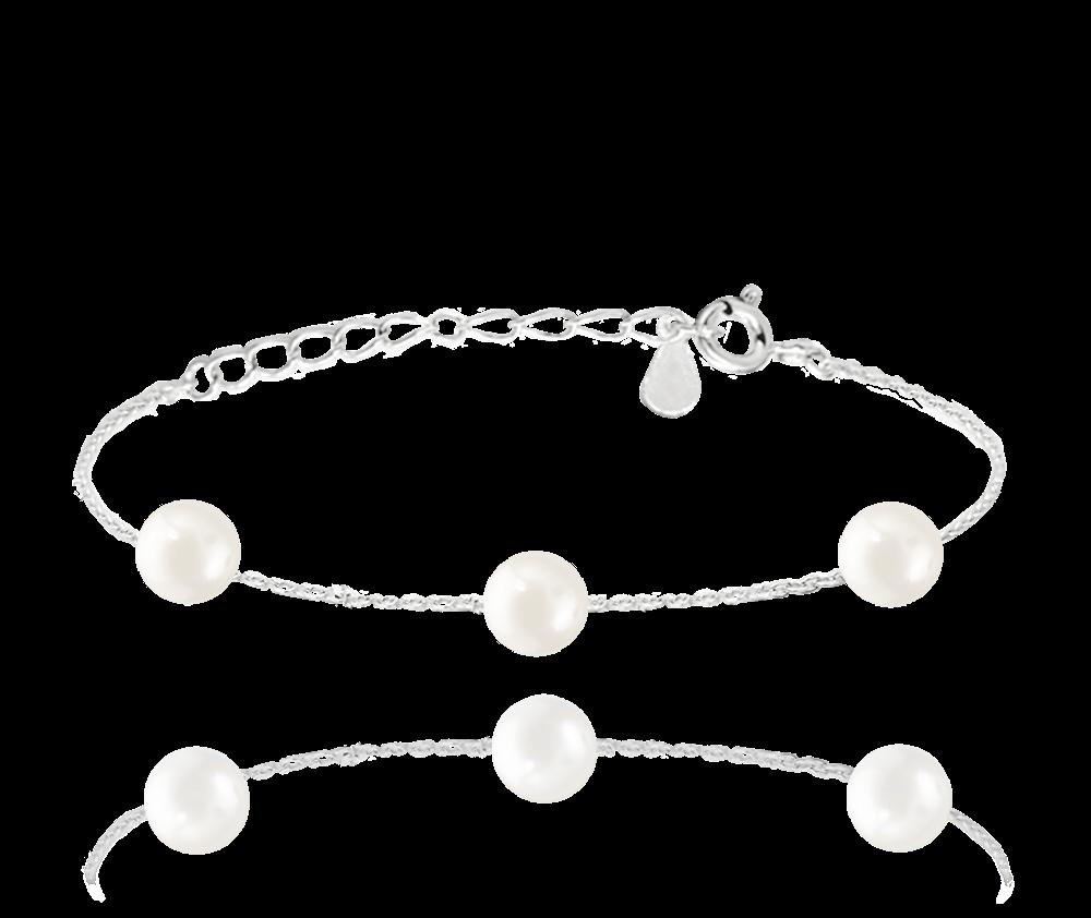 MINET Stříbrný náramek MINET s přírodními perlami JMAS7029SB16