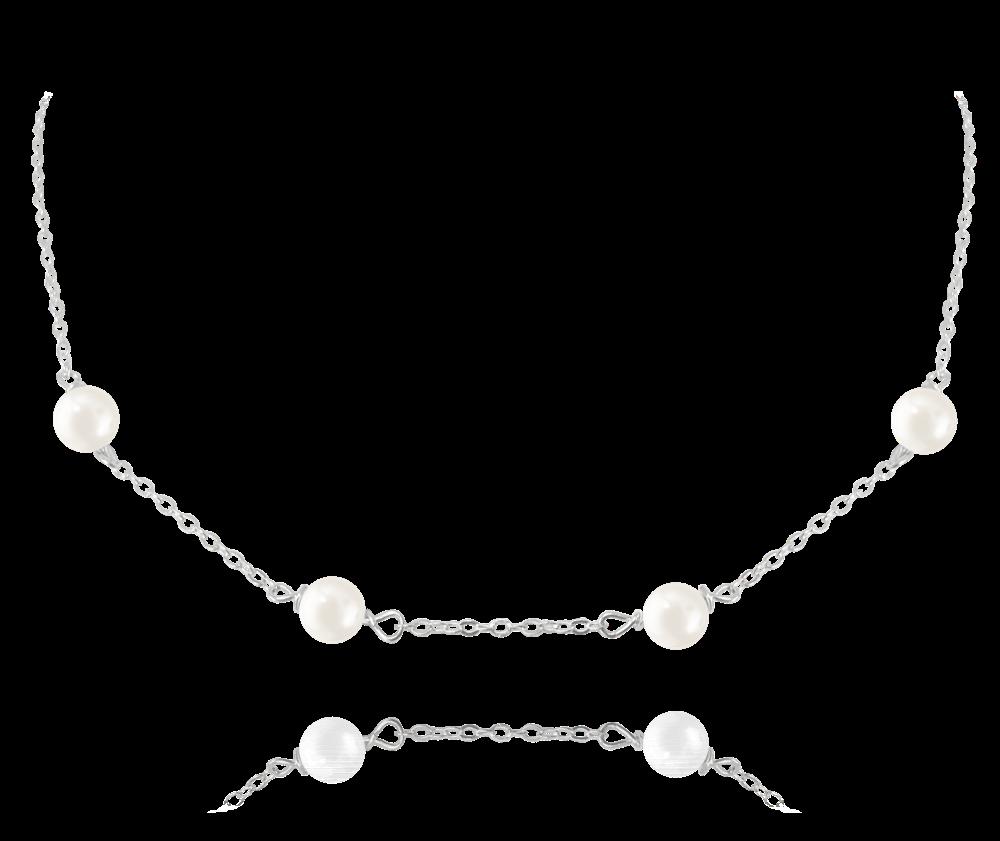 MINET Stříbrný náhrdelník MINET s přírodními perlami JMAS7029SN45