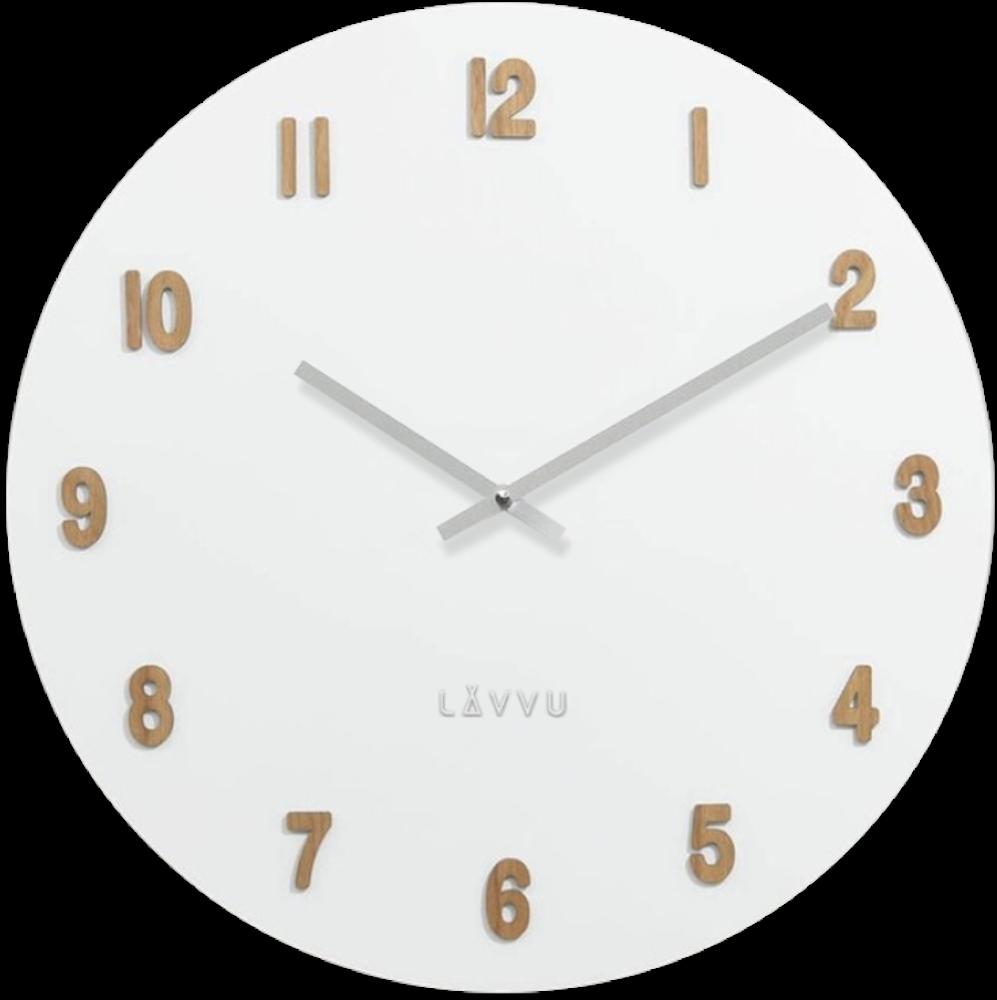 LAVVU Velké bílé dřevěné hodiny LAVVU WHITE LCT4070